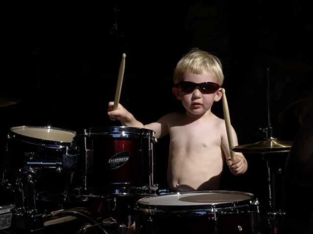 Huck, a natural on the drums